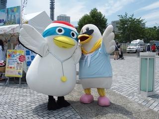 開港祭2016 かもめのハマー君と鶴のまきちゃん