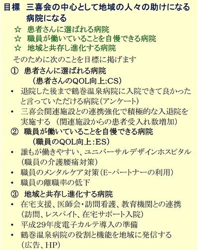平成28年度 鶴巻温泉病院の目標